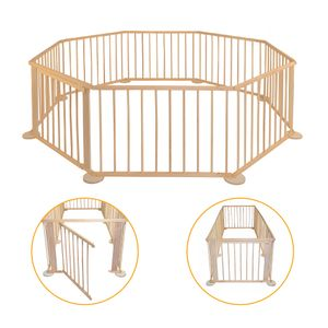 COSMOLINO Baby Laufgitter aus Holz - Faltbar - Mobiler Laufstall - Absperrgitter