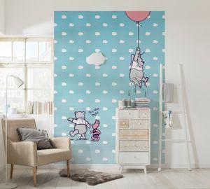 """Komar Fototapete """"Winnie Pooh Piglet"""", blau/rosa, 184 x 254 cm"""