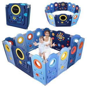 YOLEO Laufgitter Laufstall Baby Absperrgitter Krabbelgitter Schutzgitter für Kinder aus Kunststoff mit Tür Spielzeugboard 14-Paneele mit Uhr Tafel
