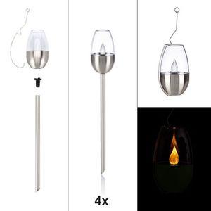 4er Set LED Solar Fackel mit Flammeneffekt, 3 in 1 Gartenleuchten - Edelstahl