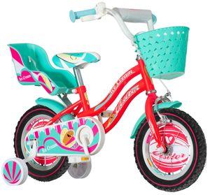 breluxx Kinderfahrrad 12 Zoll Ice Cream mit Rücktrittbremse, ab 3 Jahren, inkl. Fahrradkorb + Stützräder