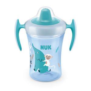 NUK Trainer Cup 230ml, weiche Trinktülle, auslaufsicher, ab 6 Monaten, BPA frei, Elefant