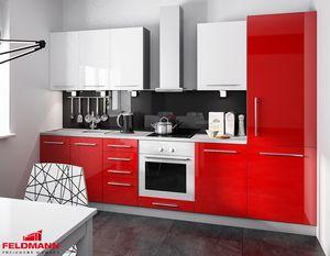Küchenzeile Küchenblock 290cm grau / rosenrot + weiß Hochglanz Neu