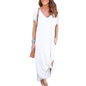 Damen super langes Plus Size Taschenkleid Bohemienkleid,Farbe: Weiß,Größe:M