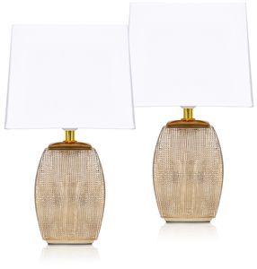 2er Set BRUBAKER Tisch- oder Nachttischlampen 38 cm Goldlampe Keramik Lampenfüße Gold und Baumwoll Schirme Weiß