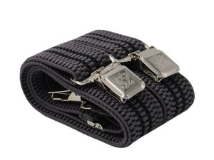 Fabio Farini 4 cm breiter Hosenträger Y Form für Herren verstellbare Länge, Hosenträger Farben:Grau mit schwarzen Streifen