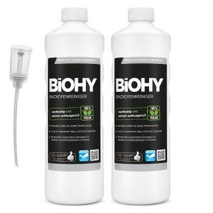 BiOHY Backofenreiniger Hochkonzentrat (2x1l Flasche) + Dosierer | Profi Grillreiniger, Fettlöser EXTRA STARK | Zur einfachen und schnellen Ofenreinigung | Löst hartnäckigste Verkrustungen
