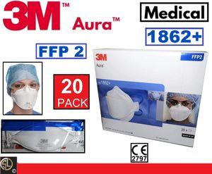 20er Karton: 3M™ Atemschutzmaske 1862+ AURA™ ohne Ventil FFP2 I Spezial Typ Medizin I Getestet nach Chirurgischen Masken