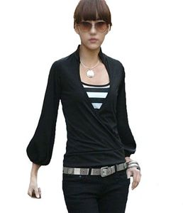 Amri Japan Style von Mississhop Damen Wickelbluse Bluse 3/4 arm Tunika Longshirt mit Stehkragen Shirt Schwarz M