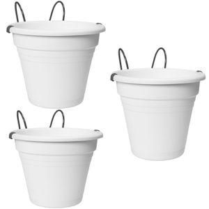 3 x Hängetopf Blumentopf Balkonkasten Blumenkasten Balkon Kräutertopf Geländer 3 x weiß