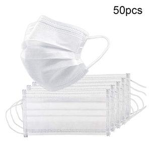 50 Stück Einweg-3-Lagen-Gesichtsmaske mit atmungsaktivem Mund