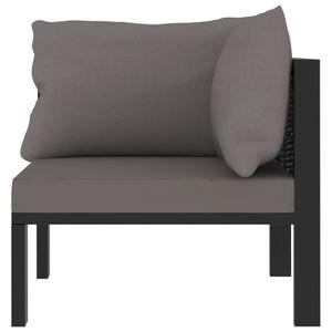 Hommie® Sofa Sofa-Eckelement mit Linker Couch Sofagarnitur Lounge-Sofa - Armlehne Poly Rattan Anthrazit für Wohnzimmer ❤1746
