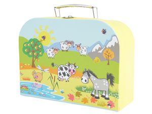 Bieco Kinderkoffer Tiermotiv, 18x25cm | Kinderkoffer Pappe | Köfferchen | Kinder Spielkoffer | Miniatur Koffer | Metallgriffe | Geschenk | Kinderkoffer Spielzeug | Reise Koffer | Koffer Mini