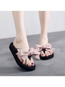 Damen Wedge Sandalen Bowknot Flip Flops Mode Strandschuhe Open Toe Light Schuhe,Farbe: Pink,Größe:37