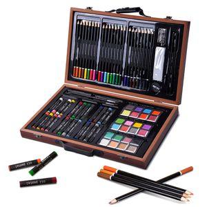GOPLUS 80 Stueck Bleistift Zeichnen Set Kuenstler-Set Professionelle Art Set Hochwertiger Malkoffer aus Holz, braun