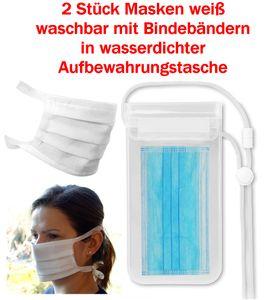 GKA 2 Stück Maske 3 lagig in wasserdichter Aufbewahrungstasche mit Bindebändern atmungsaktiv Mundschutzmaske Vlies weiß wiederverwendbar Behelfsmaske  Damen und Herren