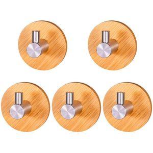 Handtuchhalter Holz, 5 Stück Selbstklebende Haken 304 Edelstahl und Bambus Wandhaken Selbstklebend, Holz Bambus Wandhaken, Klebehaken für Wohnzimmer, Küche, Badezimmer, Schlafzimmer