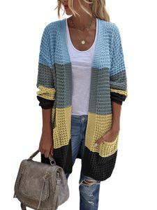 Damen Farbblock drapiert Kimono Cardigan Langarm Open Front Casual Strickpullover Mantel,Farbe: Gelb Blau,Größe:XL