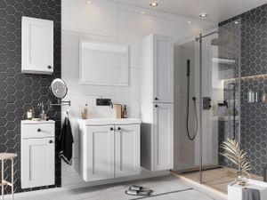 Mirjan24 Badmöbel-Set Senja, Badezimmer-Set mit Spiegel und Waschbecken, Klassisch (Farbe: Weiß)