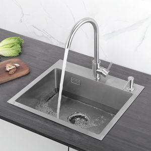 Cecipa Edelstahl Einbauspüle 50x45cm Küchenspüle Spülbecken mit Ablaufgarnitur für Aufliegende und Flachbündige Montage