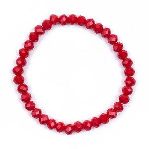 Melady Perlenarmband *6mm Rot Glas Rund Perlen Armband Damen Armbänder Damenschmuck