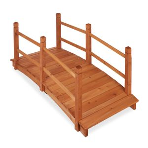 relaxdays Holz Teichbrücke mit Geländer