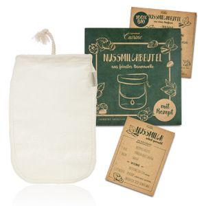 Lumaland Cuisine Nussmilchbeutel aus reiner Baumwolle Faser für vegane Nussmilchherstellung inklusive Mandelmilch Rezept