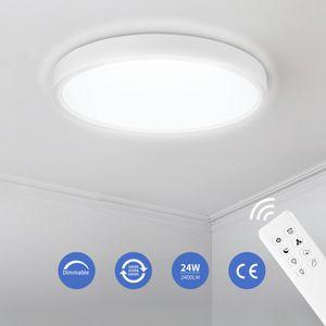 LED Deckenleuchte Dimmbar, Ultraslim Deckenlampe, Wohnzimmer Wandlampe mit Fernbedienung 24W