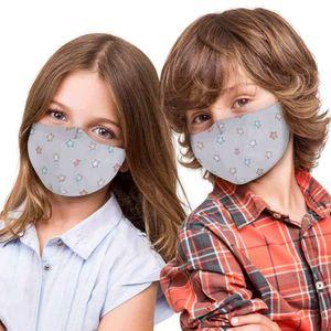 Mundschutz Stoffmaske Mund- und Nasenschutz für Kinder - waschbar und verstellbar - mit Motiv, perfekt für Schule und Freizeit, Modell wählen:grau Sterne