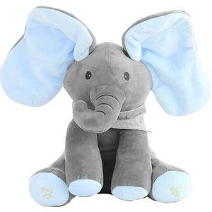 Gefüllte Spielzeuge Peekaboo Elefantenspielzeug Weiches Plüschtier Musik Peek-a-boo Elefantenpuppe Elektrisches Plüschtier Versteckspiel Elefant Beruhigendes Spielzeug für Baby(Blau)