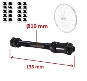 Fahrrad HINTERRADACHSE 10mm x 136 mm + 20x kugeln Achse HOHL NABEN HINTERRAD