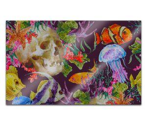 Acrylglasbilder 80x50cm Unterwasserwelt Fische Schädel Horror Wasser Acryl Bilder Acrylbild Acrylglas Wand Bild 14H2280