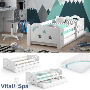 VitaliSpa Kinderbett Sari 160x80cm weiß mit Schubladen Jugendbett Rausfallschutz mit Matratze