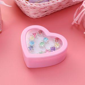 12 stücke Kind Ring Schöne Bunte Diamante Ring Set Geschenk Mit Herzförmigen Box für Mädchen Kind Kind