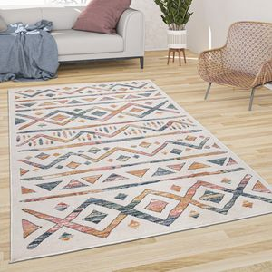Teppich Wohnzimmer Kurzflor Modernes Buntes Boho Muster Pastell Mit Rauten Hell, Grösse:80x150 cm