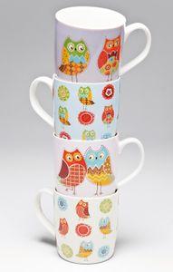 Kare Tasse Romantic Owl in versch. Farben, Farbe:lila
