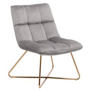 Sessel Stuhl Samt Grau gesteppt Lounge Sessel Relax Sessel Gestell Golden