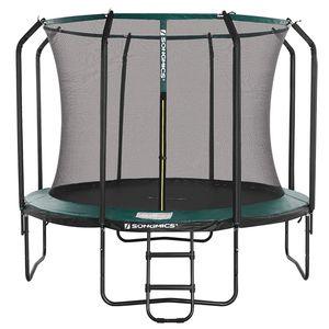 SONGMICS Trampolin 305 cm, rundes Gartentrampolin mit Sicherheitsnetz und Leiter, gepolstertes Gestell schwarz-dunkelgrün STR103C01
