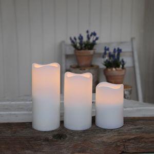 Best Season 3er LED-Kunststoff-Kerzenset mit Fernbedienung Timerfunktion, ca.11,5/15/18x 9cm,Batterie, 068-26
