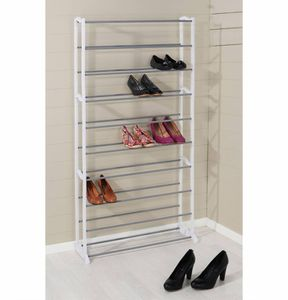 XXL Schuhregal mit 10 Ebenen Schuhschrank 140x72 cm weiß Stahl bis 40 Schuhpaare