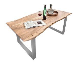 SIT Möbel Baumkante-Esstisch 200 x 100 cm | Tischplatte Akazie natur | Gestell Stahl silbern | B 200 x T 100 x H 77 cm | 07100-85 | Serie TABLES & CO