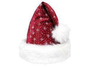 Weihnachtsmütze mit Pelzrand und glitzer in bordeaux 00