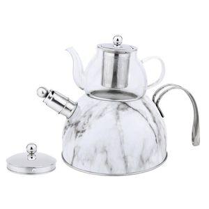 Zellerfeld Trendmax Düdüklü Caydanlik Takimi Teekocher 3 Liter + 600ml Teekanne aus Glas 18/10 Edelstahl Dampf-Pfeife mit Henkel Motiv 1
