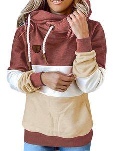 Damen nähen Kapuze Sweatshirt lose Hoodie Langarm Top,Farbe: Ziegelrot,Größe:S