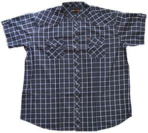 Übergrößen Kurzarm Hemd KAMRO Schwarz Grau Weiß 5XL