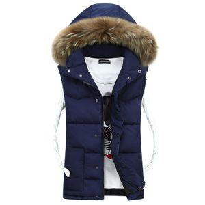 Unisex Abnehmbare Kapuzen Gepolsterte Daunenjacke Weste Ärmellose Jacke,Farbe: Navy blau,Größe:4XL