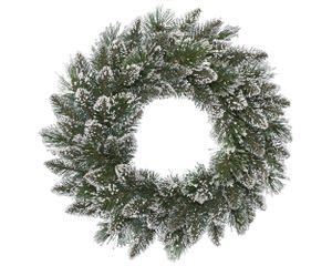 Tannenkranz mit Glitzer-Schnee 50cm Hartnadeln künstlich, grün / weiß