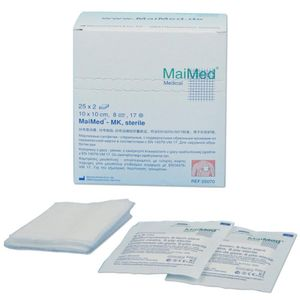 MaiMed Mullkompressen steril 8- lagig 50 Stück 7,5 cm x 7,5 cm