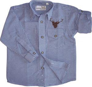 Kinder Trachtenhemd knaben Trachtenlederhosen mit Hirsch stickerei Blau-karo, Größe:164/170