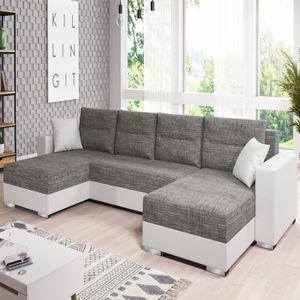 Selsey GAMBIA - Wohnlandschaft / Sofa in U-Form Hellgrau / Weiß mit Bettkasten und Schlaffunktion, 346 cm breit